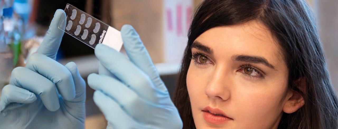 Christin Godale, neuroscience graduate student, looks at a slide sample in the Danzer lab at Cincinnati Children's