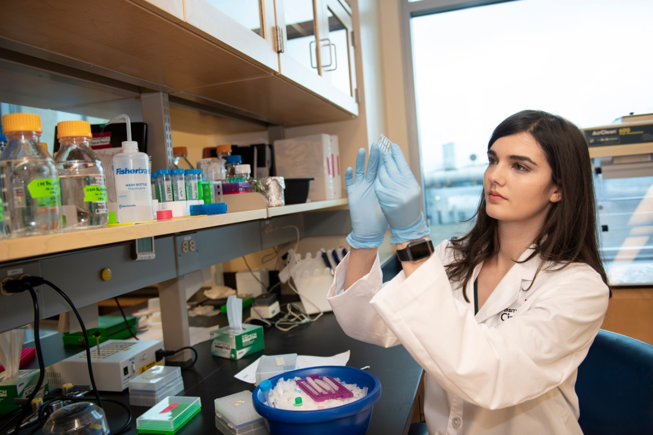 Christin Godale, a PhD student in neuroscience, working in the Danzer research lab.