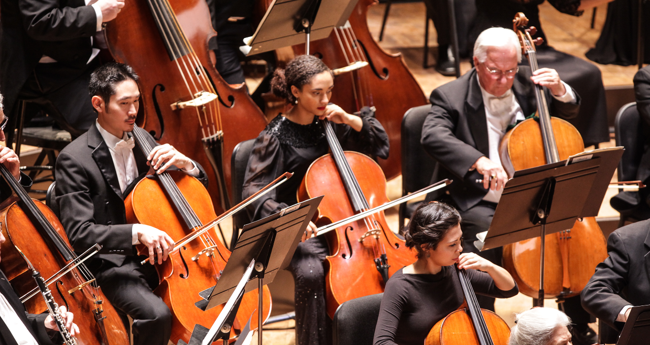 CCM graduate student Anita Graef performs on stage with the Cincinnati Symphony Orchestra