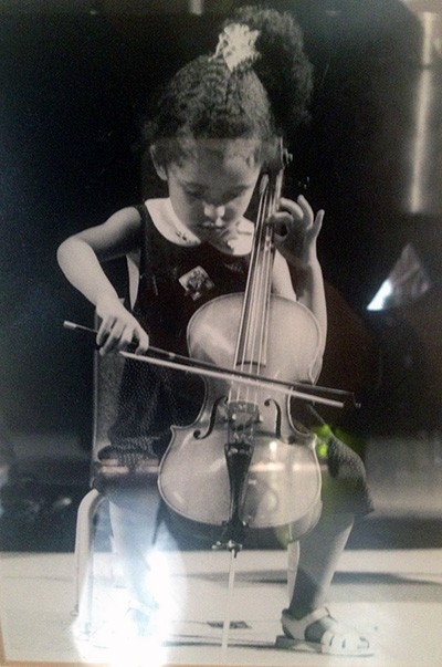 Anita Graef plays her cello at age four.