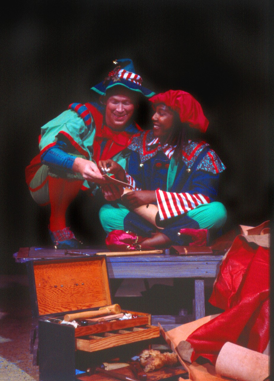"""A scene from """"The Shoemaker and the Christmas Elves""""."""