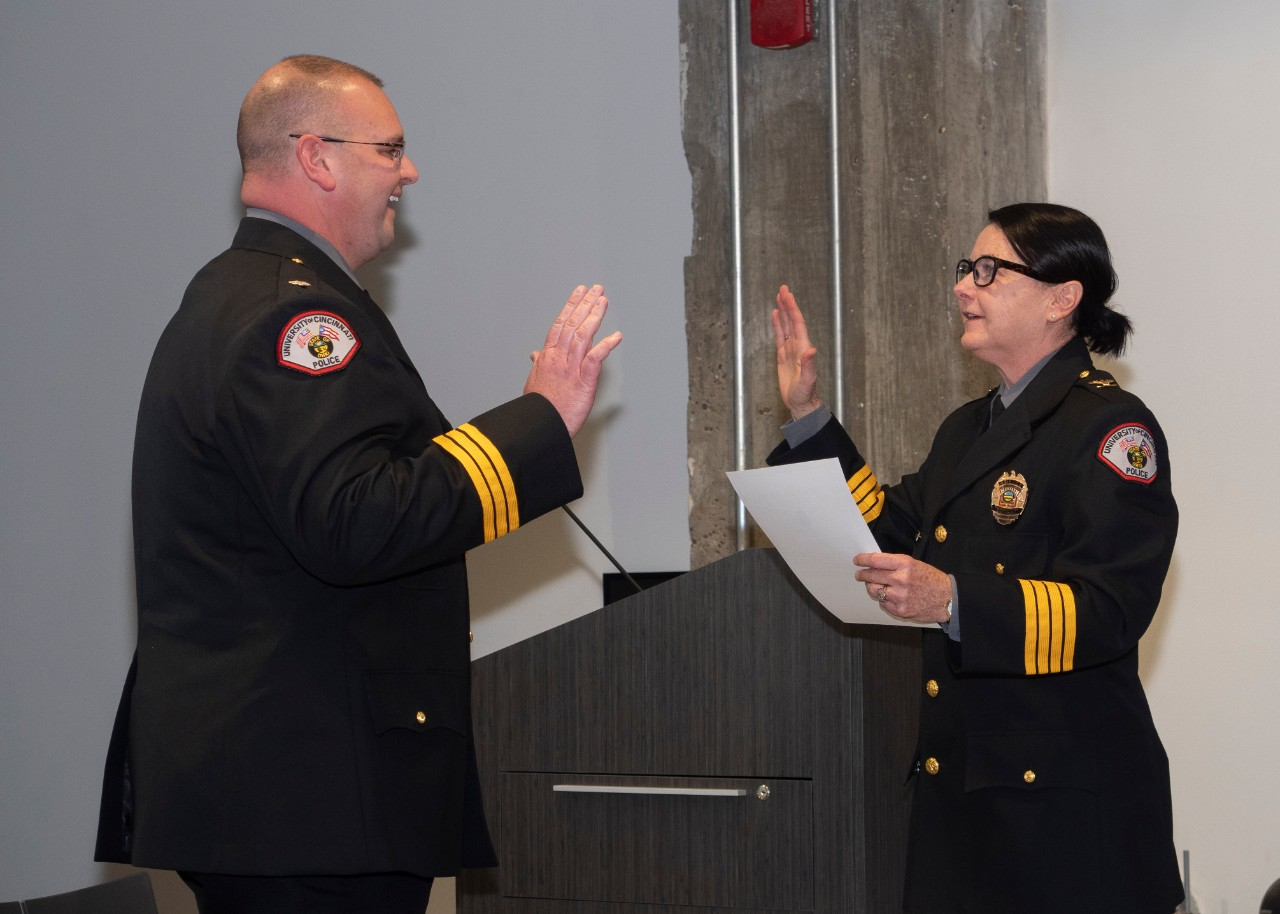 Chief Maris Herold swears in Assistant Chief Dudley Smith in a ceremony on Nov. 9, 2018.