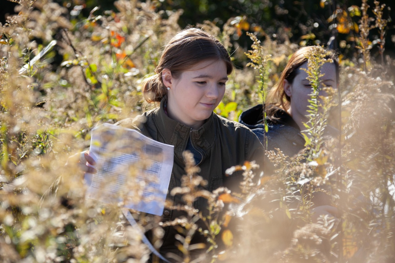A student holding a field checklist stands in a field of tall goldenrod.