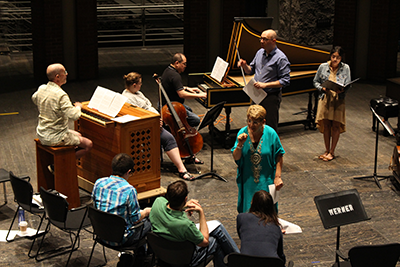 Participants study Baroque chamber music in CCM's Cohen Family Studio Theater.