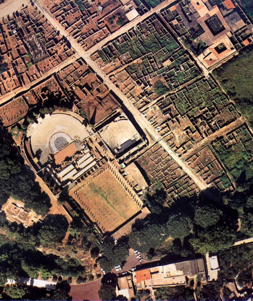 Aerial view of the excavation of Pompeii