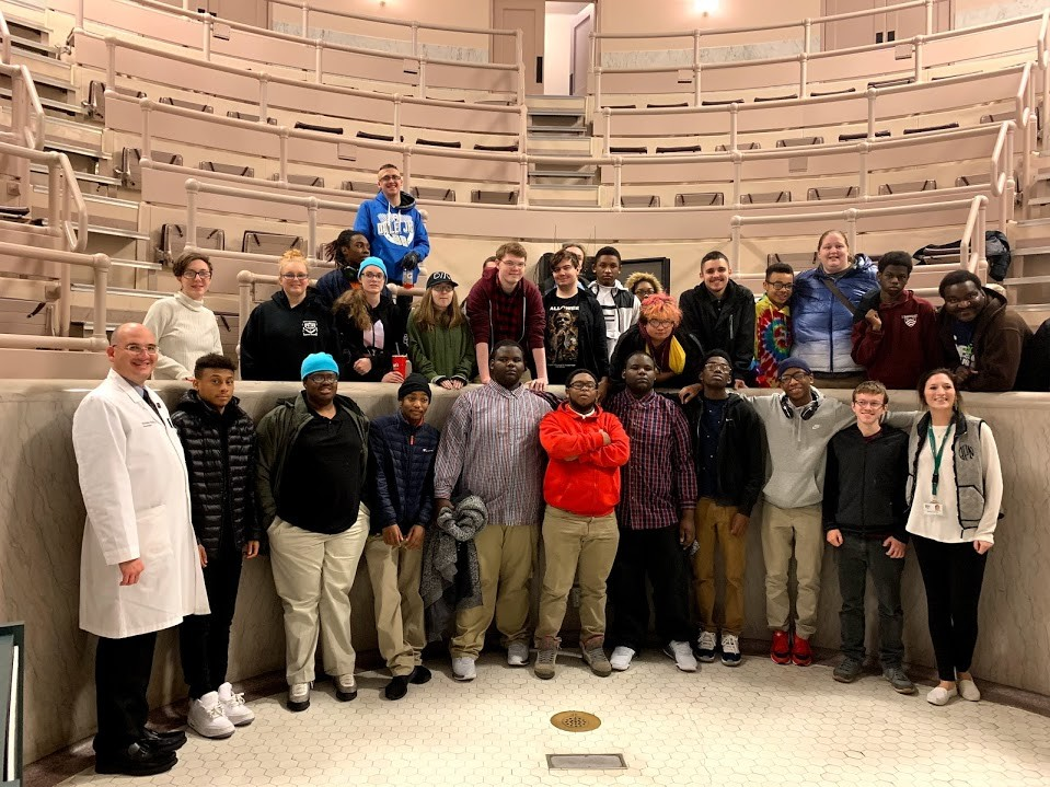 high school student group visits the UC Medical Center surgical ampitheater