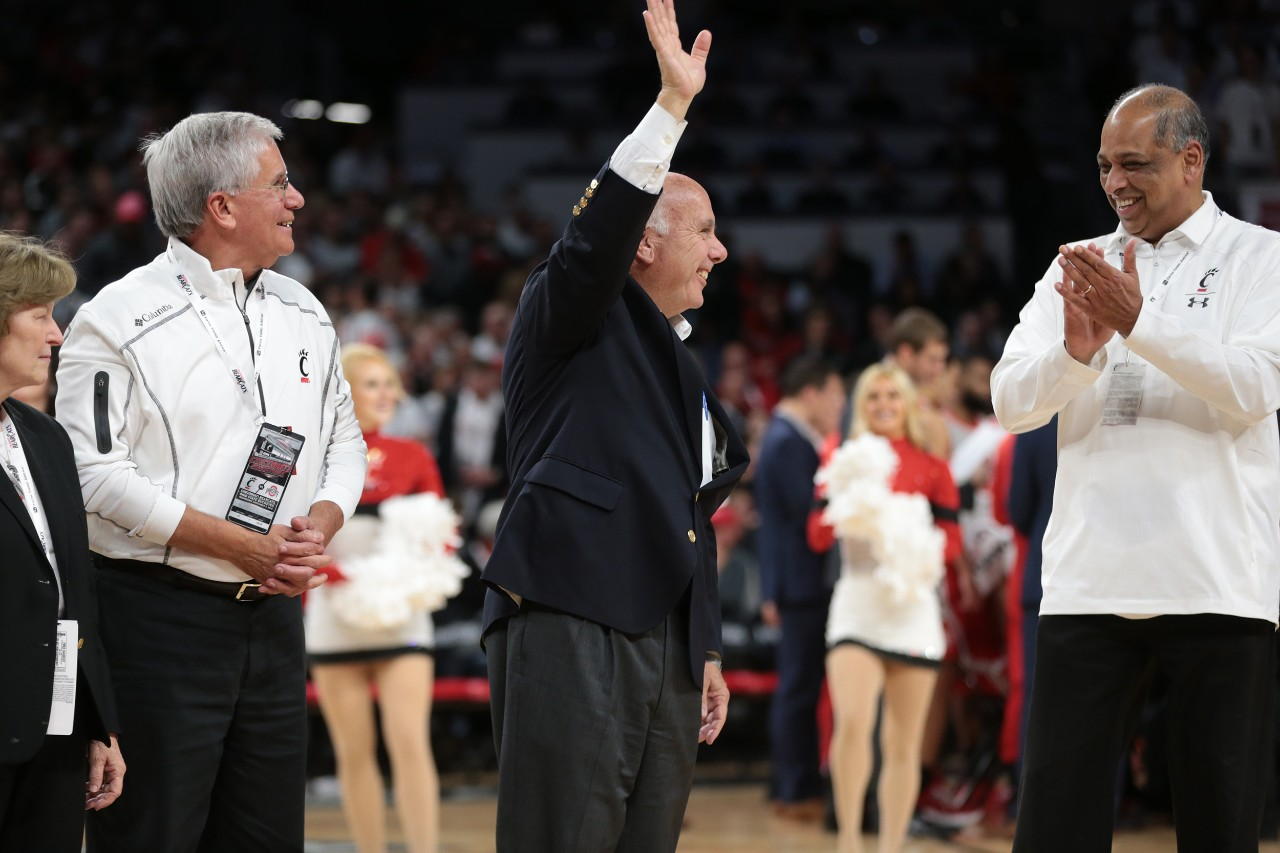 Thomas Cassady waves to the crowd from center court at Fifth Third Arena.