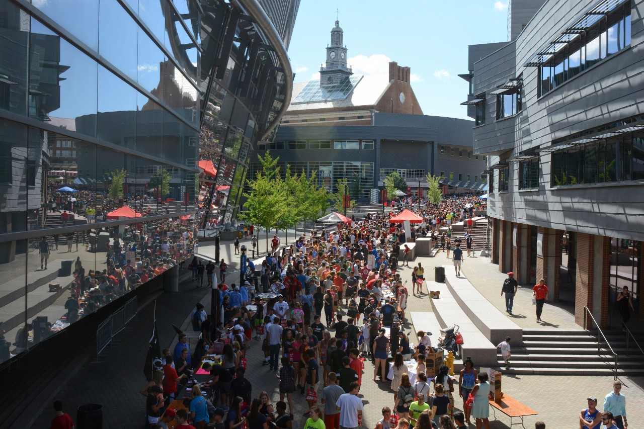 Students fill UC's busy MainStreet between classes.