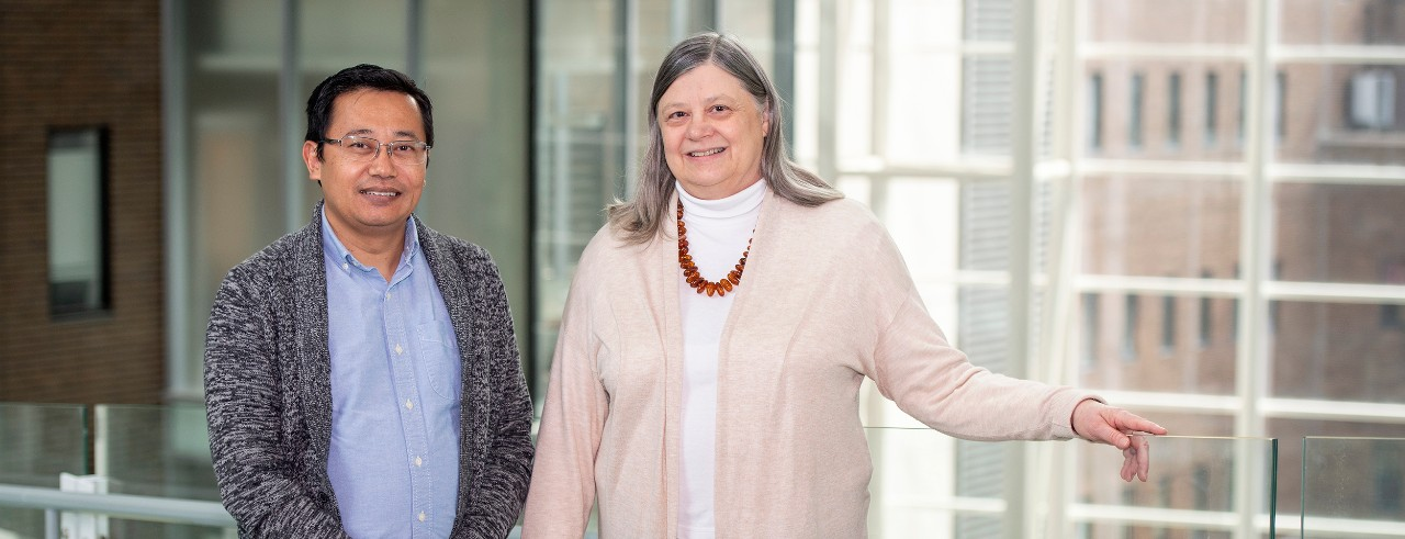Suman Pradhan, PhD, and Alison Weiss, PhD, are shown in the University of Cincinnati College of Medicine.