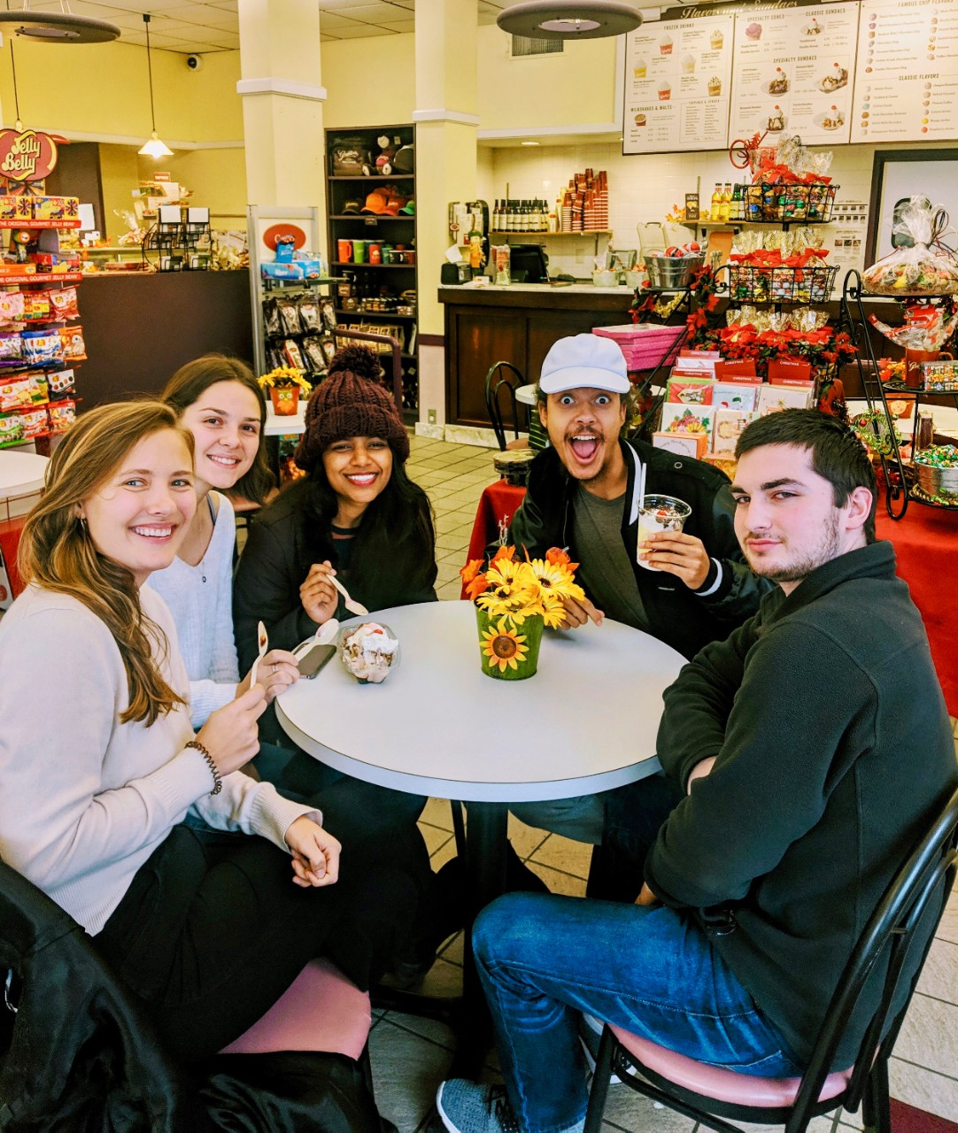 UQAM students sit in Graeter's ice cream during their visit to Cincinnati in November.