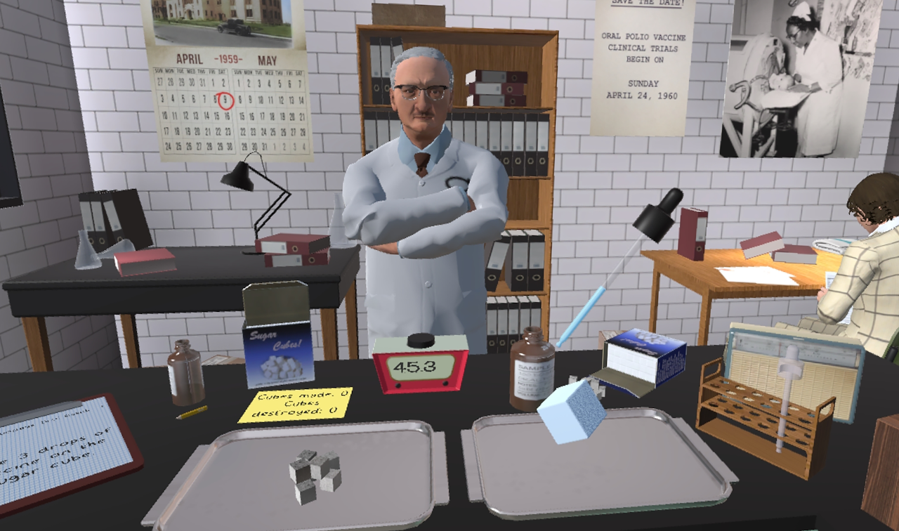 Virtual scene of Albert Sabin in his lab