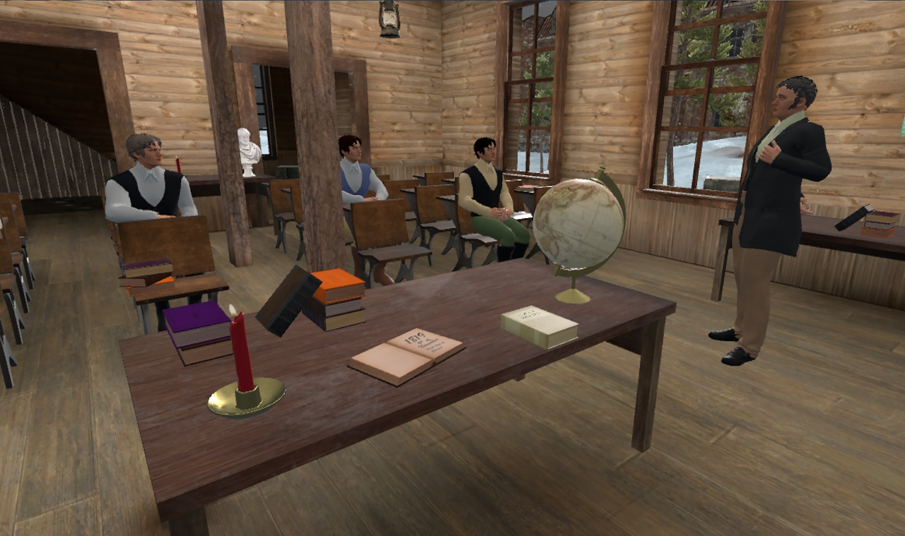 Virtual rendering of a 1819 classroom