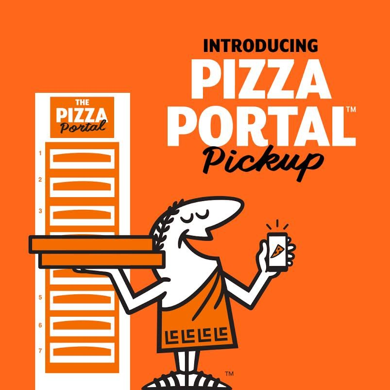 """Little Caesars graphic of company mascot in front of pizza warmer. """"Introducing Pizza Portal Pickup"""" text in upper right corner."""