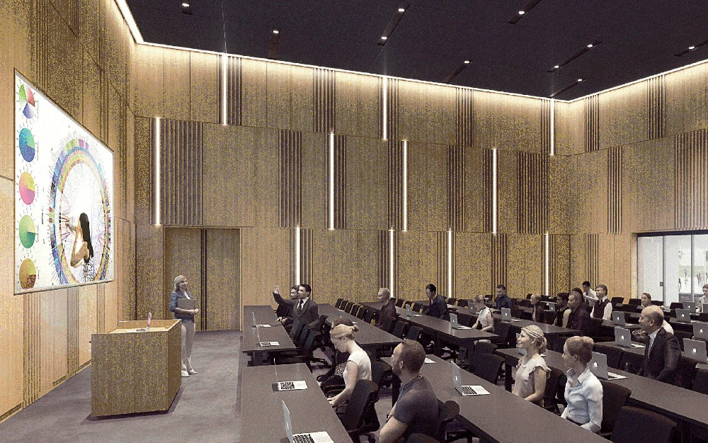Rendering a lecture hall inside of New Lindner College of Business building,  scheduled to open Fall 2019