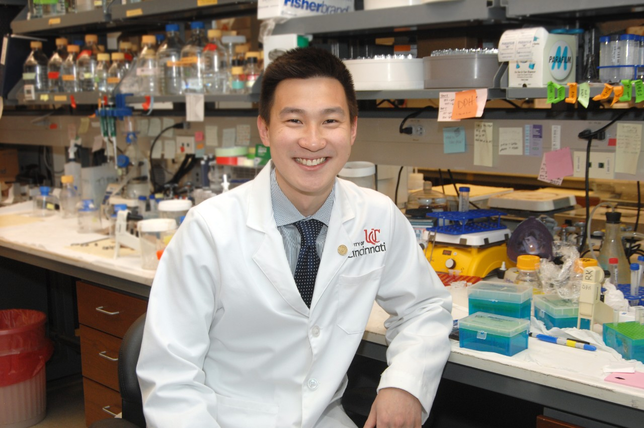 Patrick Lee, a UC medical student, is shown in a laboratory.