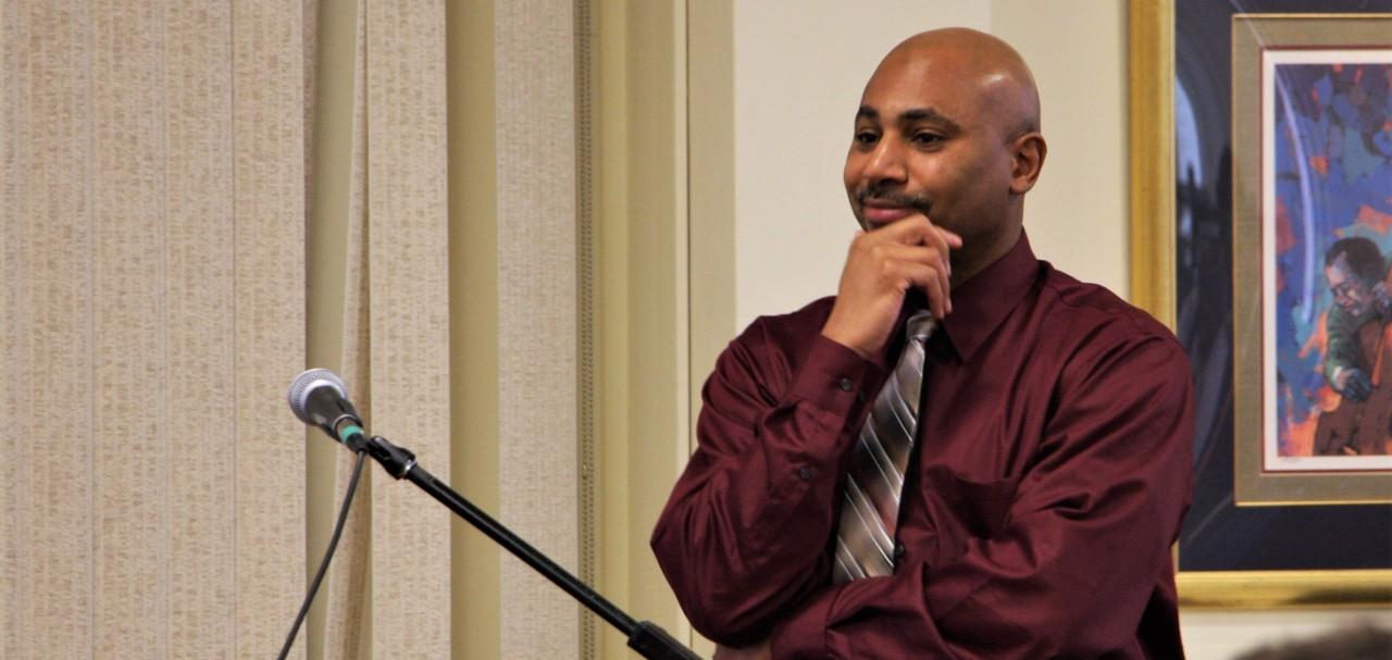 Earl Wright II speaking at The Cincinnati Project's 2018 symposium