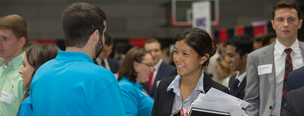 UC students meet with employers during Career Fair in Campus Recreation Center