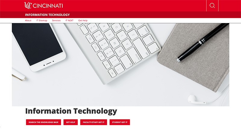 screen capture of new homepage showing an image of a computer keyboard, smartphone and meeting planner.