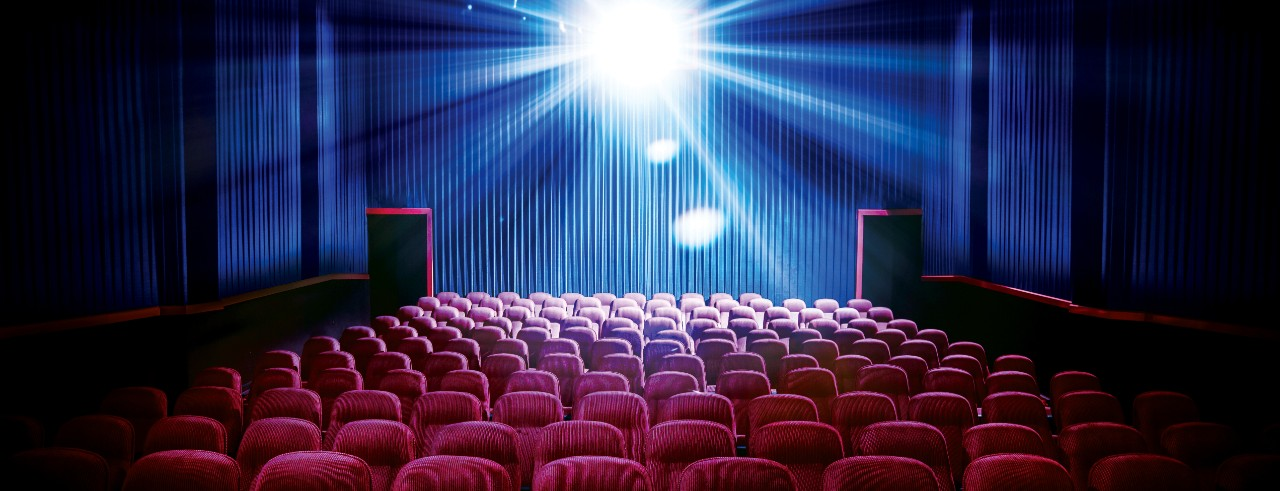 An empty movie theatre.