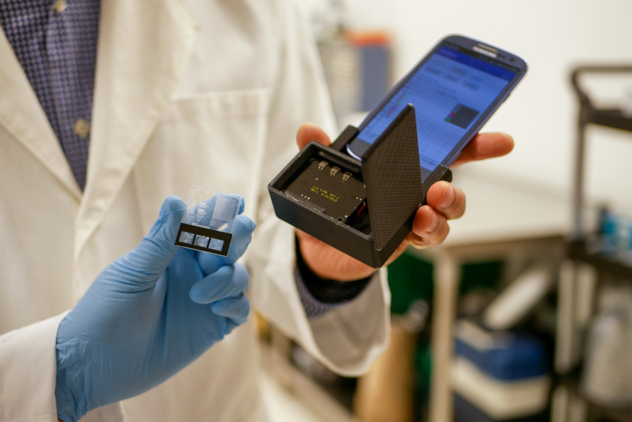 cell phone with lab on a chip attachment