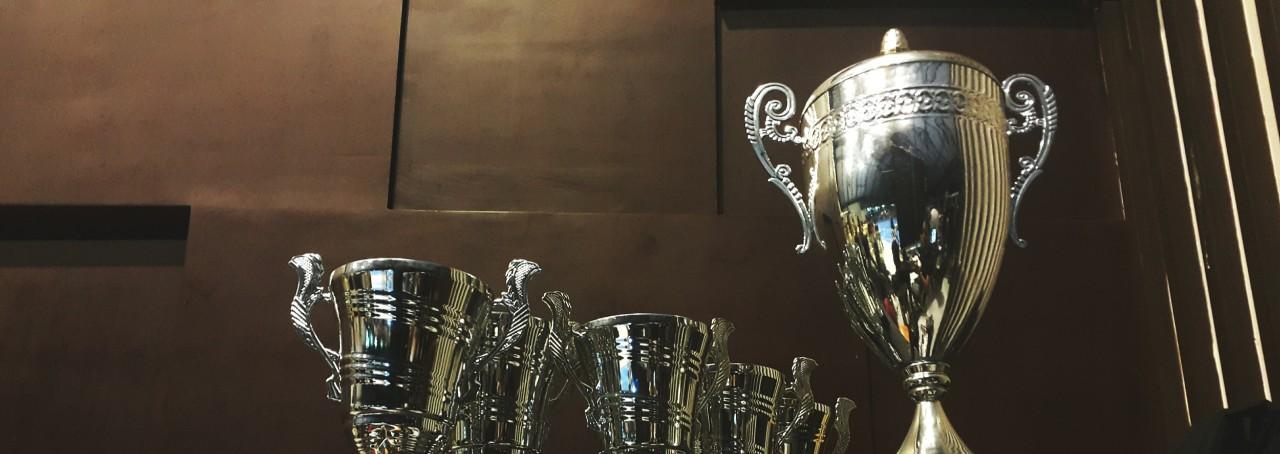 a shelf of trophies