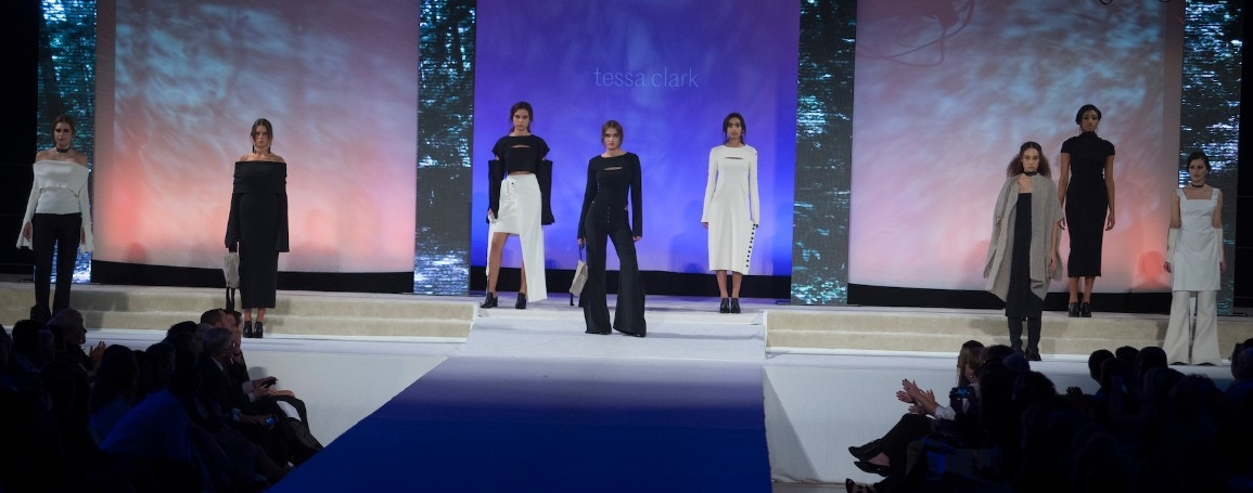Models pose on a runway
