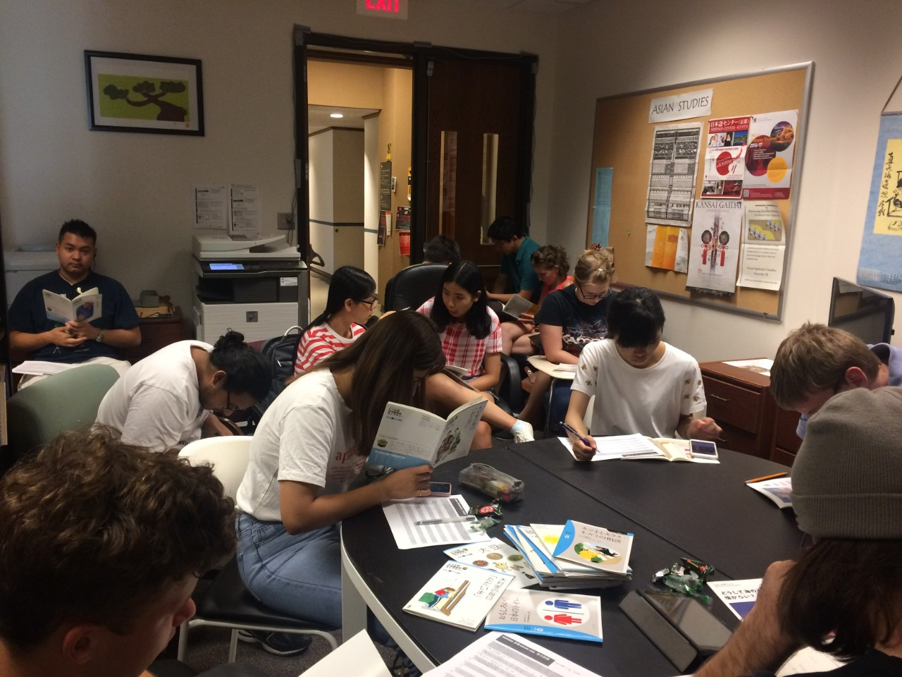 Students gather for a Japanese reading club.