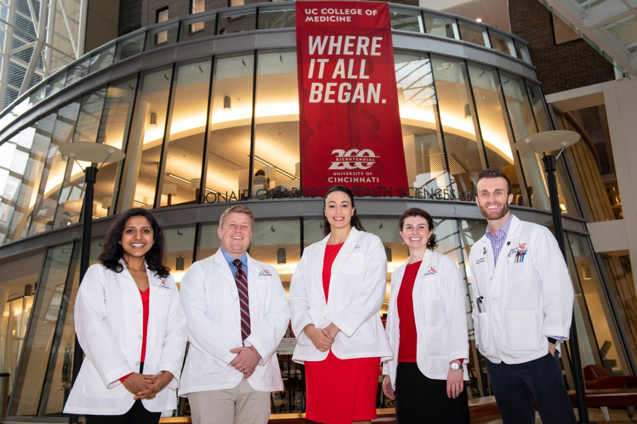 Five medical students are shown in the College of Medicine. They are Namratha Kolur, Matthew Hurn, Hagar Elgendy, Meredith Taylor and Robert Daulton.