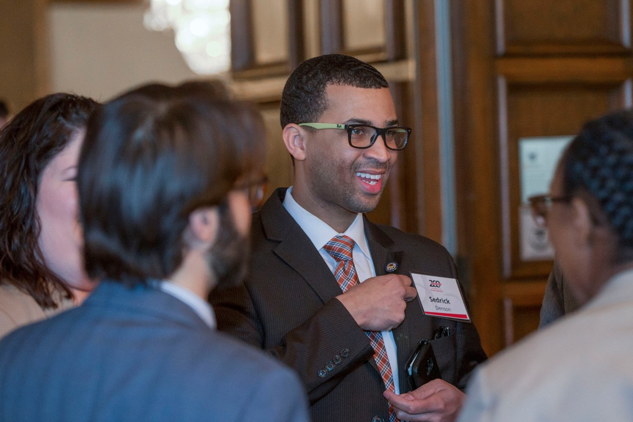 Sedrick Denson, middle Ohio State representative spoke with people during the Bicentennial Commendation & Reception at the Athletic Club in Columbus, Ohio.