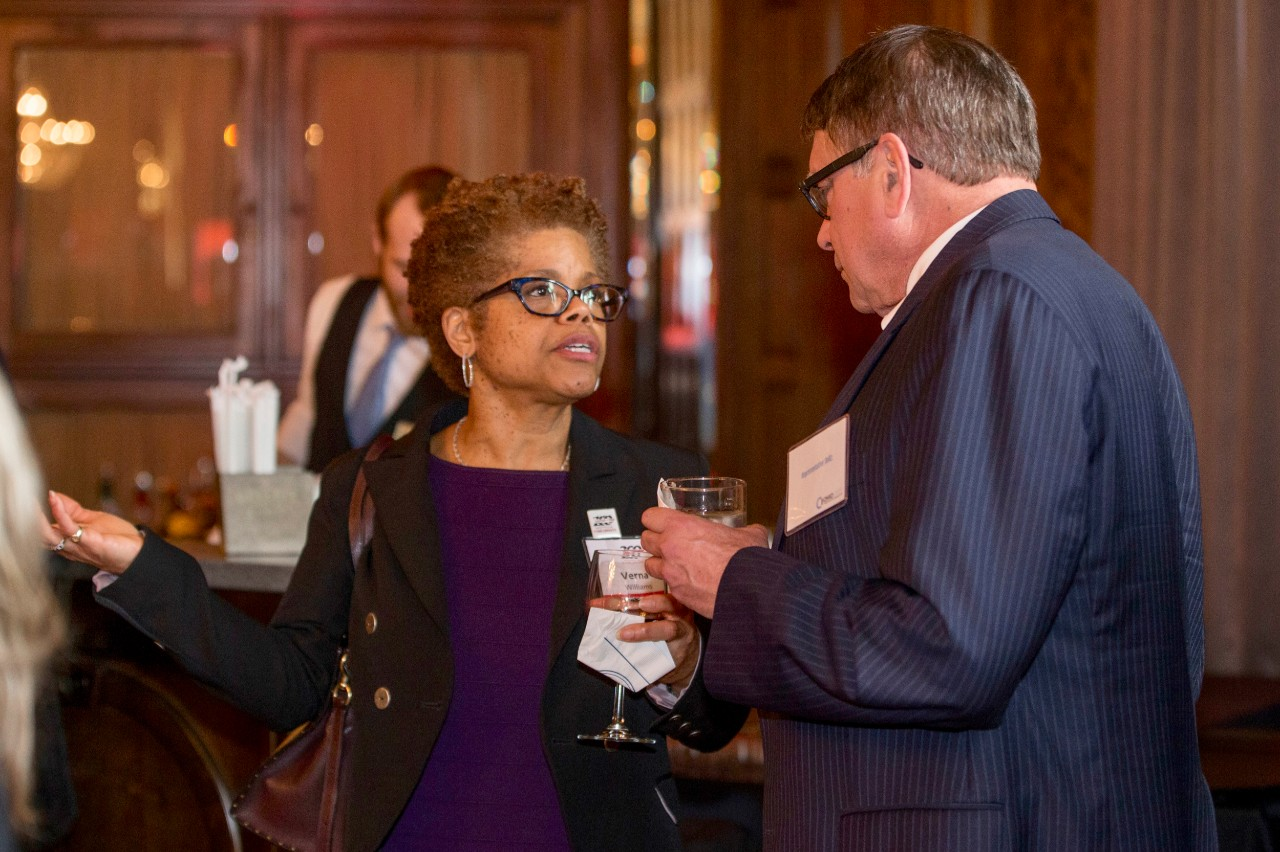 vDean Verna Williams, left spoke with Bill Seitz, Ohio State representative during the Bicentennial Commendation & Reception at the Athletic Club in Columbus, Ohio.