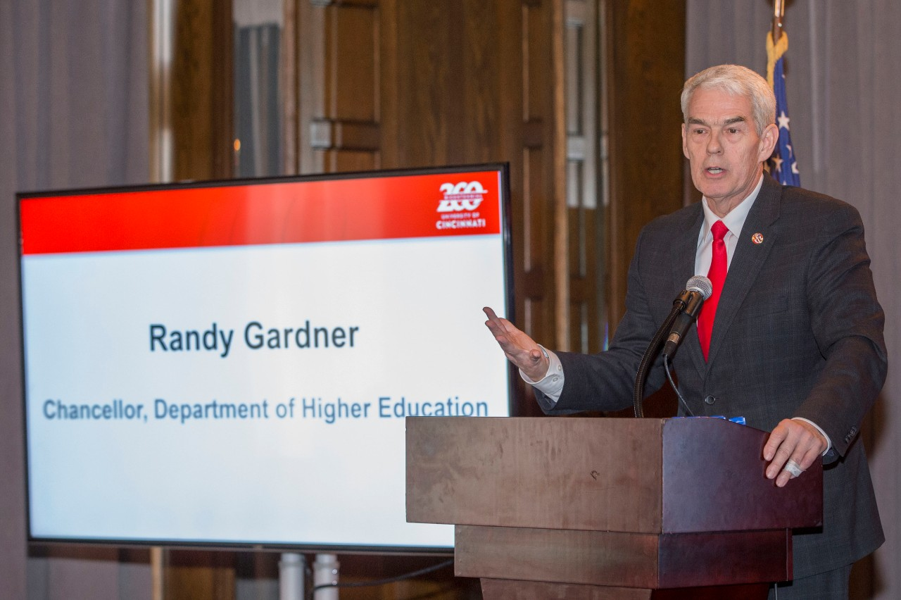 Chancellor Randy Gardner spoke during the Bicentennial Commendation & Reception at the Athletic Club in Columbus, Ohio.