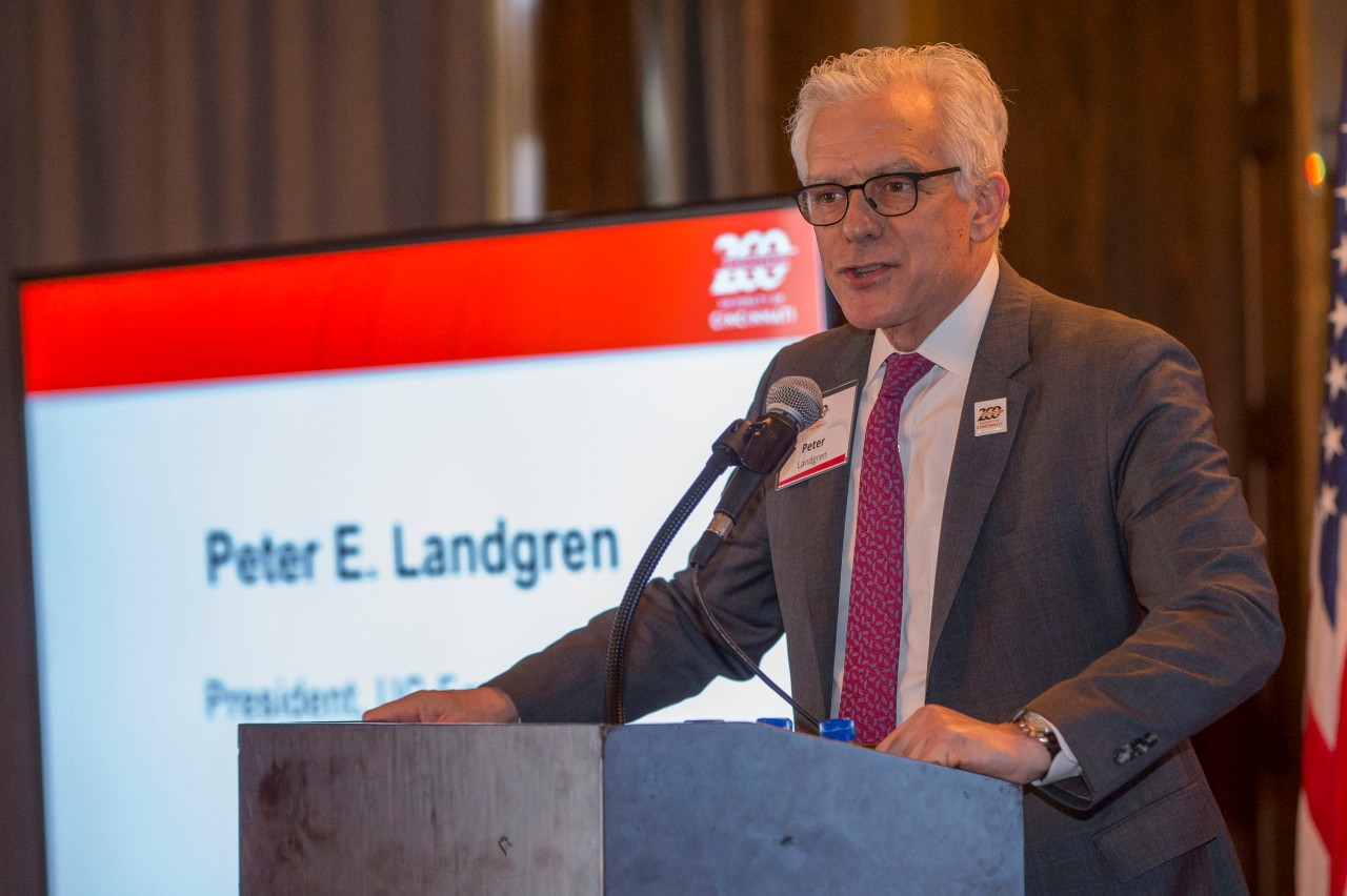 Peter Landgren, President of the University of Cincinnati Foundation and Vice President for Advancement spoke during the Bicentennial Commendation & Reception at the Athletic Club in Columbus, Ohio.