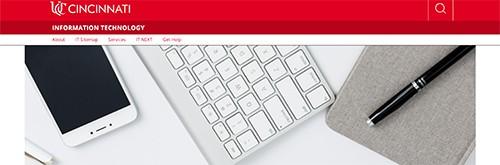 Screen capture of IT homepage