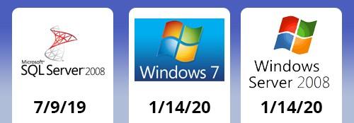 SQL Server, Windows 7, and Windows Server 2008 logos