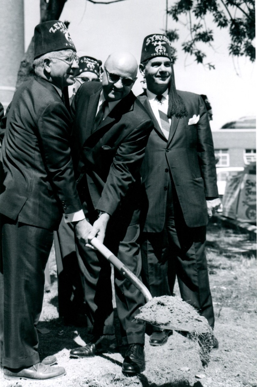 Shriners leadership at 1964 hospital groundbreaking.