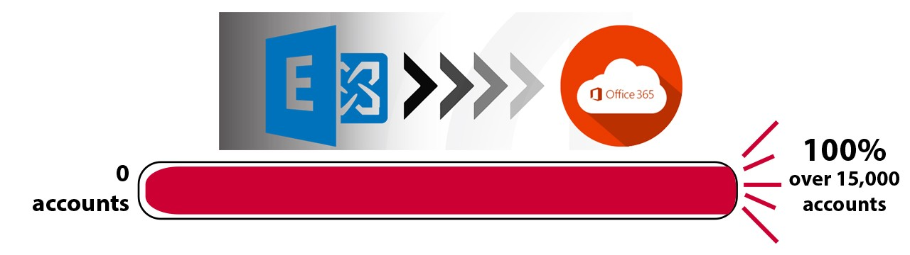 Office 365 logo with progress bar showing 100% complete.