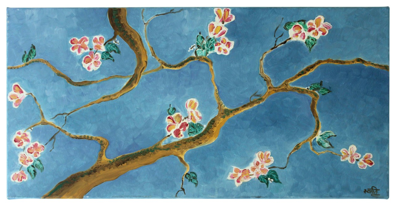 A painting of a tree branch with blossoms, by Swati Chopra.