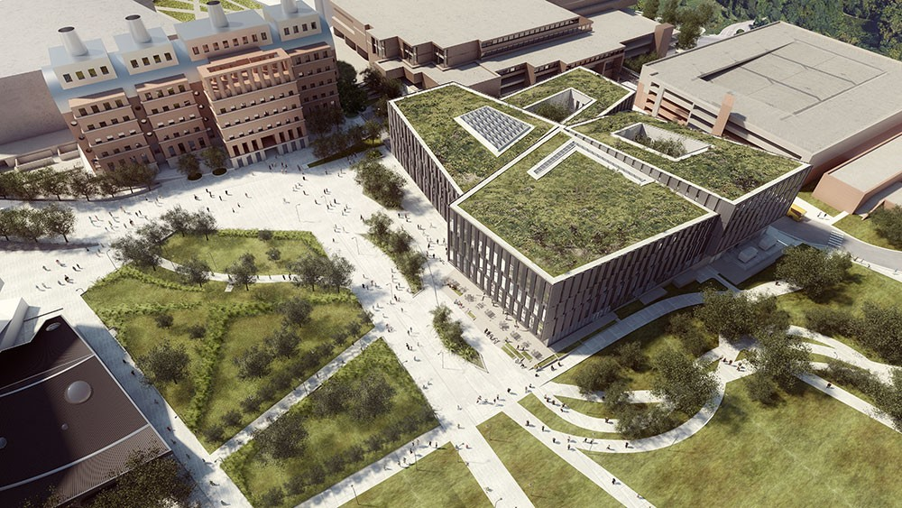 A rendering of a large, four-story building with grass growing on the roof