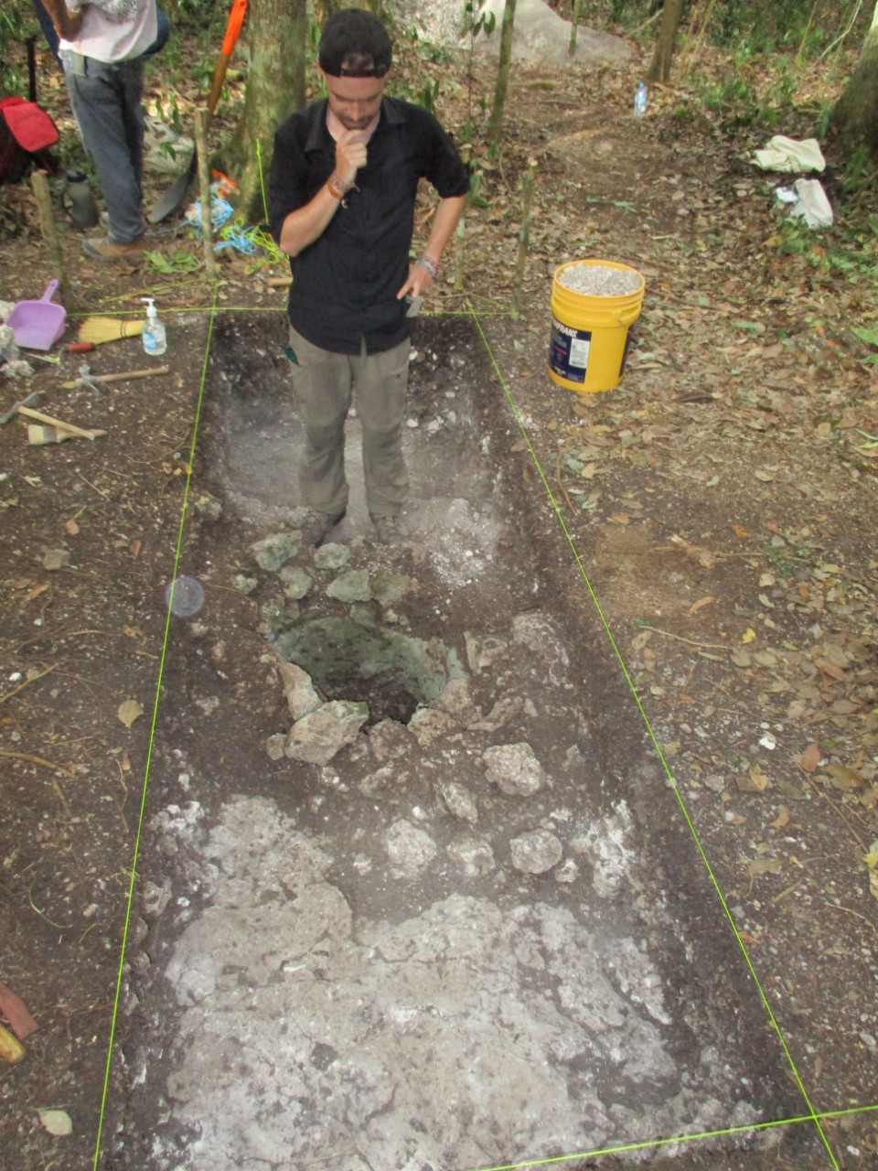 A UC student stands in an excavation in Mexico's Yucatan Peninsula.