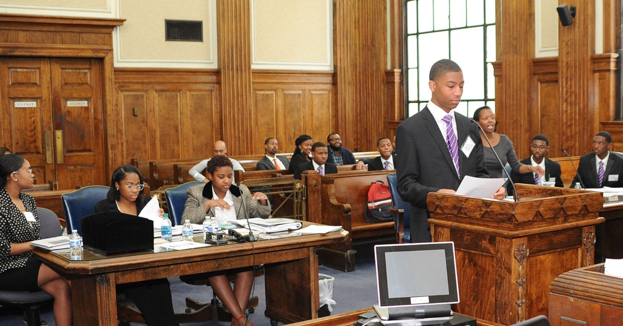 Students participate in mock trial.
