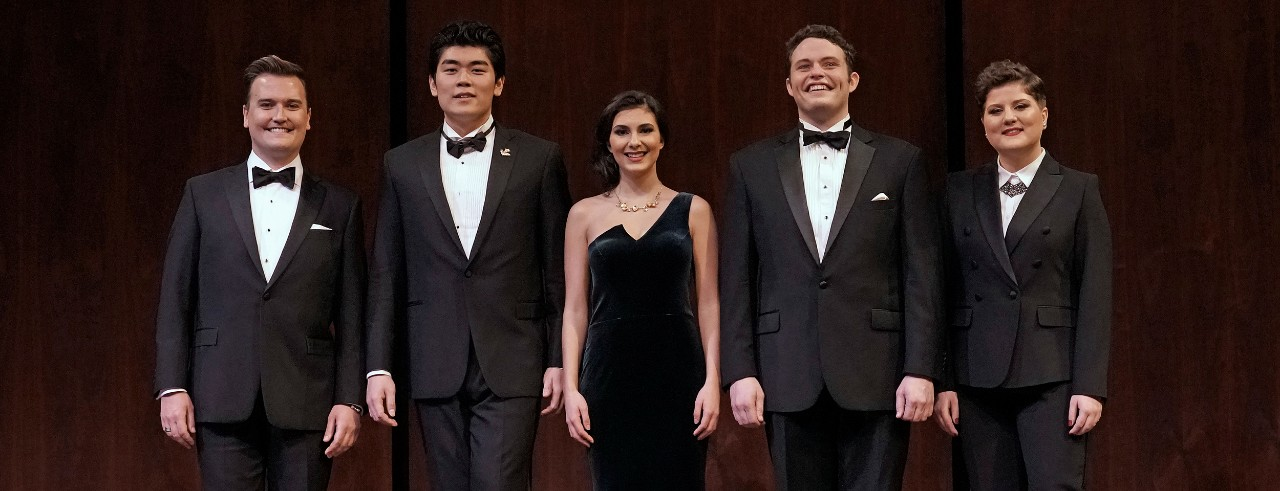 A picture of the five winners of the Metropolitan Opera's National Council Auditions, which includes CCM student Elena Villalón in the center.