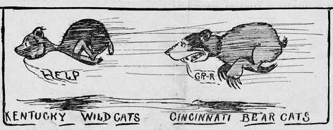 Sketch of a bearcat chasing a wildcat