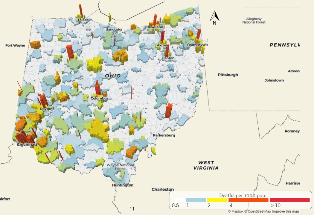 A map shows the rate of opioid fatalities in Ohio.