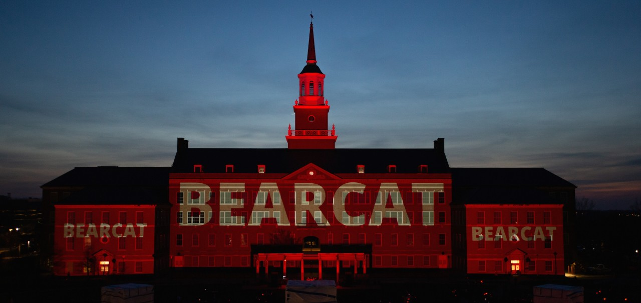 Momentum light show on McMicken Hall