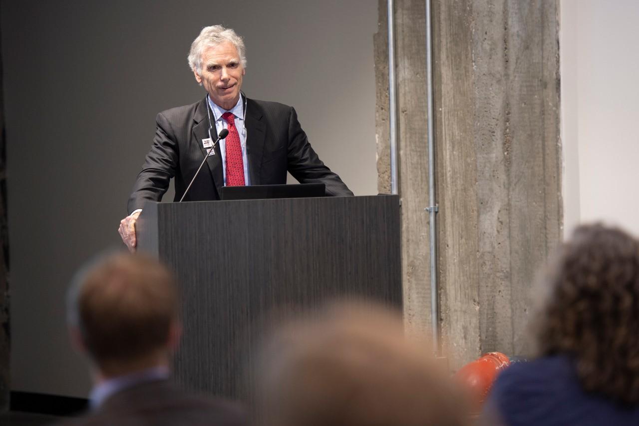 Wm. Portman stands at the podium discussing Cincinnati's opioid crisis. photo/Colleen Kelley/UC Creative Services
