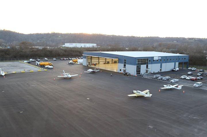 Airplane hangar and runway