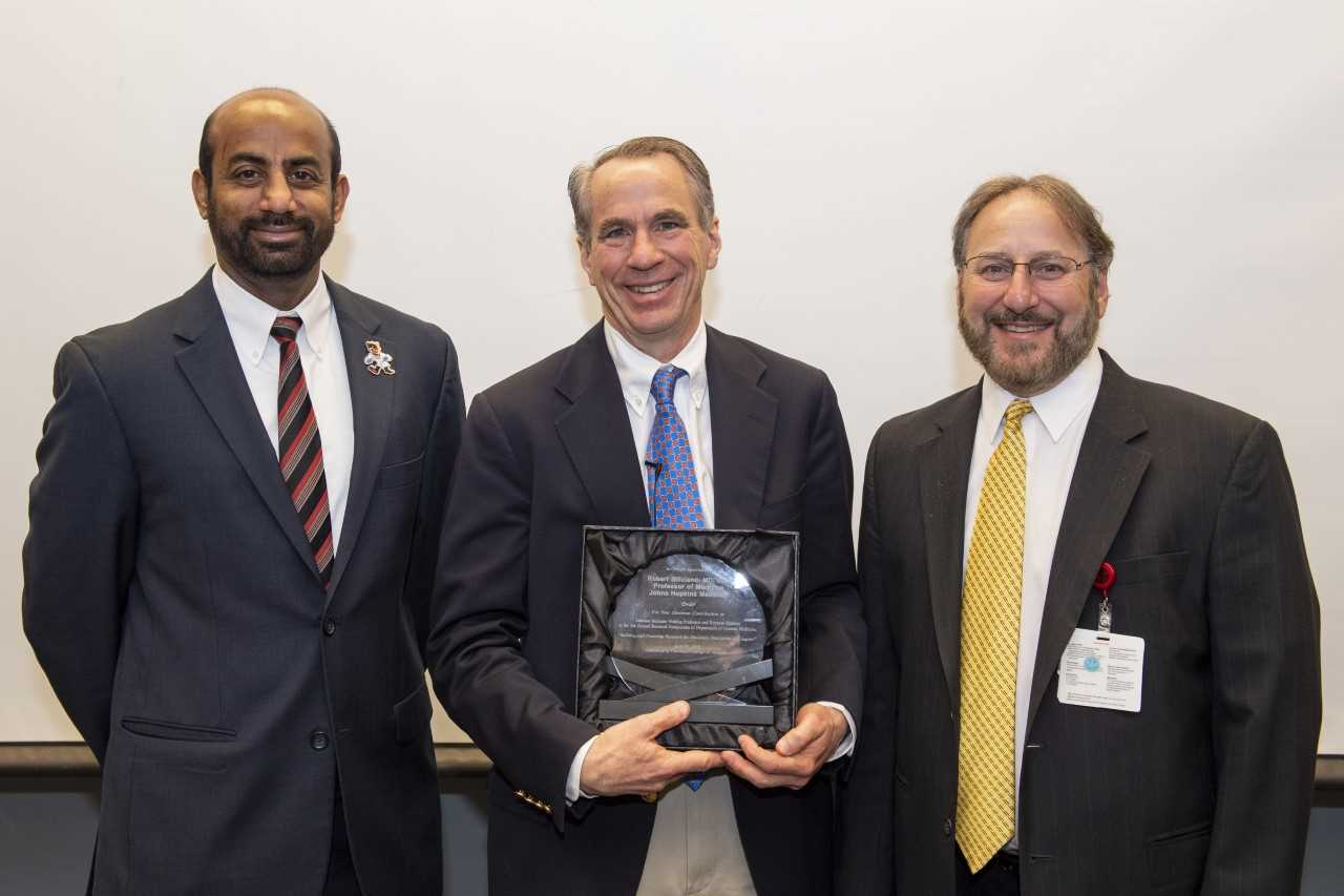 Sakthivel Sadayappan, PhD, is shown with Robert Siliciano, MD, PhD, and Carl Fichtenbaum, MD.