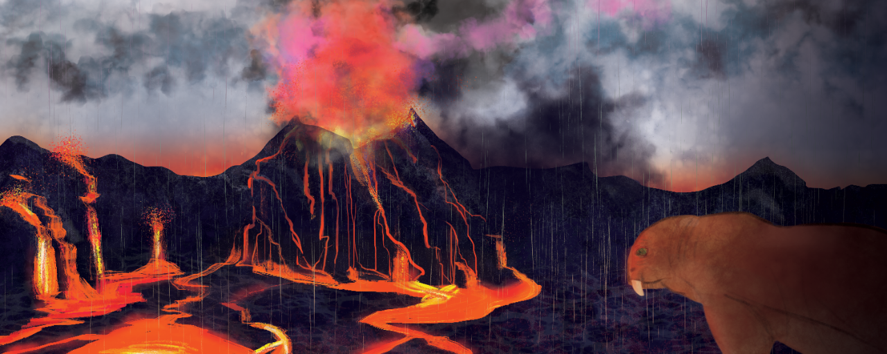 An illustration shows a volcano erupting with lava pouring into a valley and ash filling the air while acid rain washes down. In the corner, a predatory gorgonopsid watches his coming demise.
