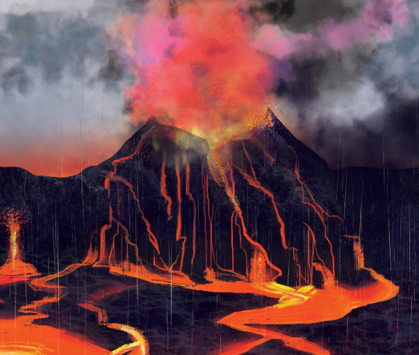 An illustration of a volcanic eruption.