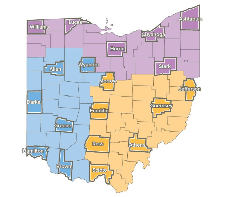 ohio map of 19 counties within grant